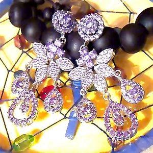 Jewelry - Simulated Amethyst Diamond Silvertone Chandelier